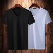 2件】丝光棉短袖t恤男夏韩版修身v领纯棉半袖白色体恤纯色打底衫