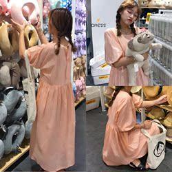 原久美子实拍鬼马系少女,敲可爱粉嫩嫩少女感泡泡袖长款连衣裙