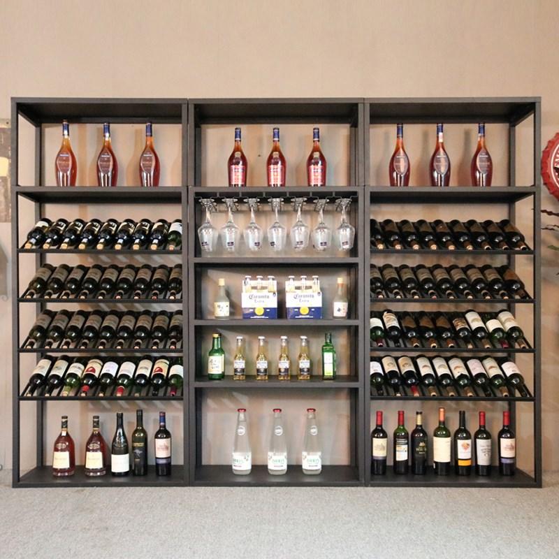 复古欧式铁艺酒吧KTV落地葡萄红酒柜多层置物收纳展示杯窖架定制