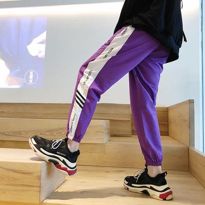 男运动裤韩版潮流裤子嘻哈束脚男裤原宿风薄款宽松休闲裤九分秋季