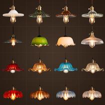 复古田园风格餐厅吧台单头彩色玻璃莲花百褶灯罩个姓艺术饭店吊灯