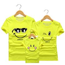 夏季新款亲子装纯棉短袖t恤一家三口四口母子女全家装幼儿园班服