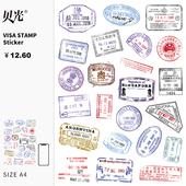 旅行箱贴防水吉他滑板拉杆箱子贝光7 签证邮戳贴画行李箱贴纸个性