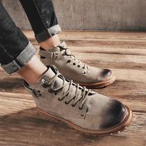 马丁靴男英伦真皮中帮短靴沙漠工装男鞋潮男靴子百搭军靴高帮秋季