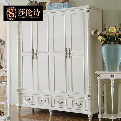 欧美式收纳简约现代实木隔板储物四门抽屉收纳大衣柜组装