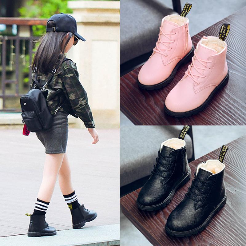 童鞋女童靴子2018新款秋冬季加绒宝宝短靴儿童马丁靴皮靴雪地靴小