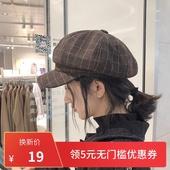 网红格子贝雷帽女士秋冬韩版日系百搭软妹蓓蕾帽复古英伦八角帽子图片
