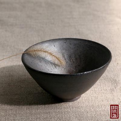 正宗龙窑柴烧建盏落灰杯纯手工粗陶自然落灰釉裸烧茶杯铁胎禅定杯