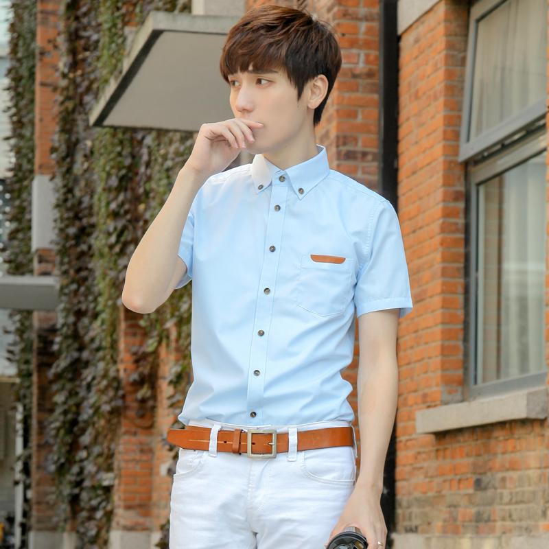 男生短袖衬衫个性