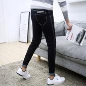 青少年小脚裤 潮男装 男裤 男士 修身 韩版 夏季黑色弹力9九分牛仔裤