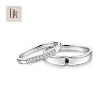 DarryRing钻石情侣对戒白18K金黑白钻结婚戒指 10%先生
