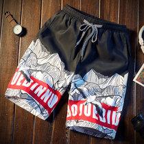夏季男士印花短裤韩版休闲薄款沙滩裤潮流大码男裤海边度假五分裤