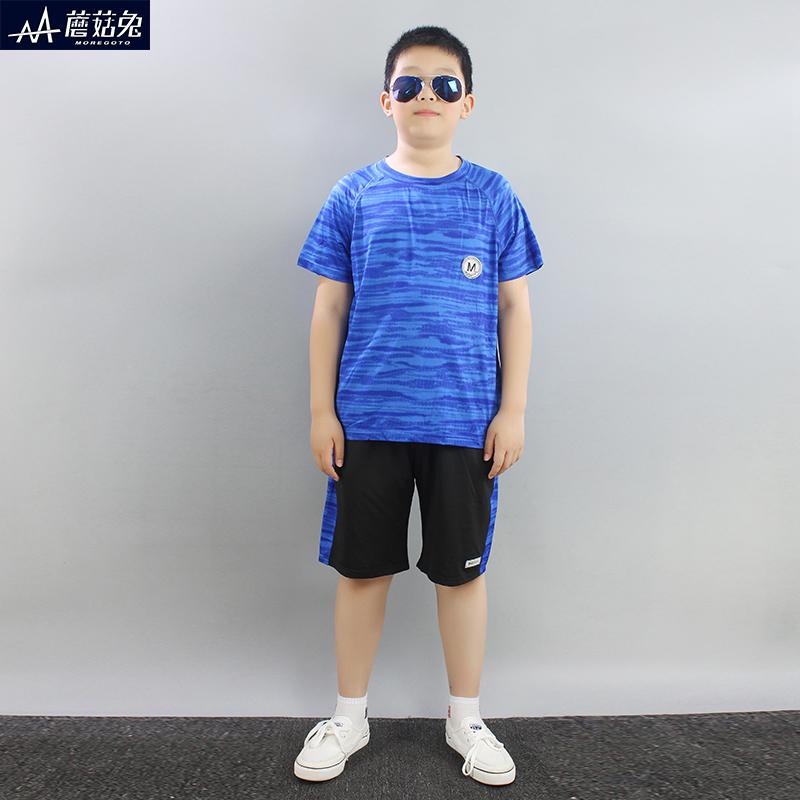 胖童套装男童10帅气15岁13男孩夏装加肥儿童速干衣服夏季运动短袖