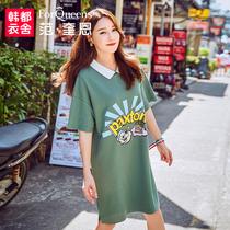 范奎恩大码女装胖妹妹夏装2018新款200斤胖MM遮肚中长显瘦连衣裙