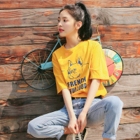 慕兔ins学生纯棉短袖T恤女2018夏季新款 chic宽松印花超火的上衣