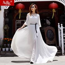 夏季女装超仙白色及到脚踝175高个子170气质裙子超长款连衣裙长裙