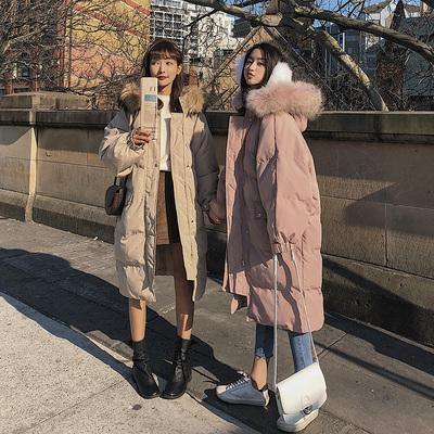 东大门棉服女中长款冬2018新款韩版宽松bf过膝ins面包棉衣厚外套
