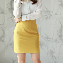 The new skinny yellow short skirt workwear in 2019. Business half-length skirt with high waist and black hip-wrapped skirt for summer one-step skirt