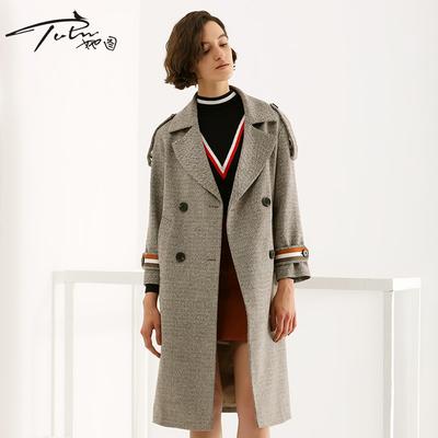 她图2018秋冬新款毛呢大衣女宽松显瘦中长款英伦风羊绒呢子外套潮