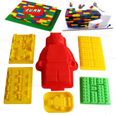 乐高积木硅胶冰格制冰盒 lego机器人仔橡皮翻糖巧克力冻冰块模具