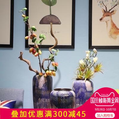 新款美式乡村景德镇陶瓷花瓶摆件客厅插花家居软装饰品创意粗陶