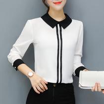 漫娜儿春夏上衣女装2018新款时尚显瘦韩范雪纺衬衫长袖大码白衬衣