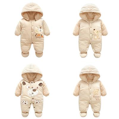 婴儿秋冬季加厚连体衣6个月新生儿宝宝衣服0冬装3外出抱衣服反季9