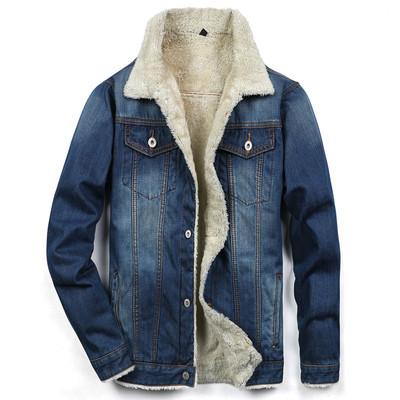 冬季加绒牛仔外套男修身加厚夹克韩版潮流青年棉衣棉服羊羔毛上衣