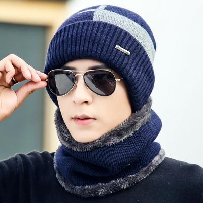 帽子男冬天毛线帽加厚保暖针织帽套头包头帽棉帽冬季青年户外骑车
