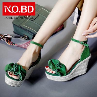 柯百蒂10cm超高跟绿色一字带凉鞋夏季磨砂真皮草编坡跟女鞋子E586