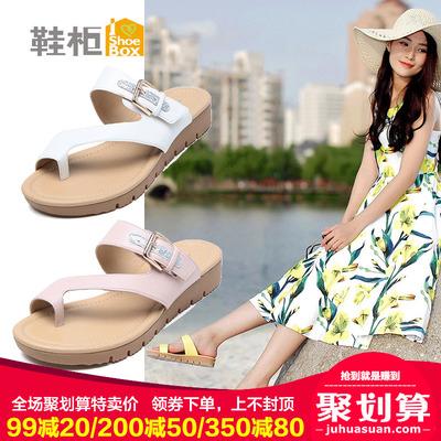 达芙妮旗下SHOEBOX/鞋柜正品夏款套趾凉鞋女时尚简约休闲平底女鞋
