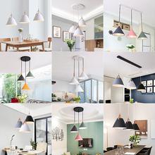 北欧餐厅吊灯现代简约饭厅卧室吧台灯创意个性铁艺三头马卡龙灯具