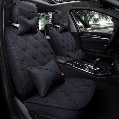 布艺新款汽车坐垫卡通透气亚麻冬季椅套标志起亚威朗现代汽车模型