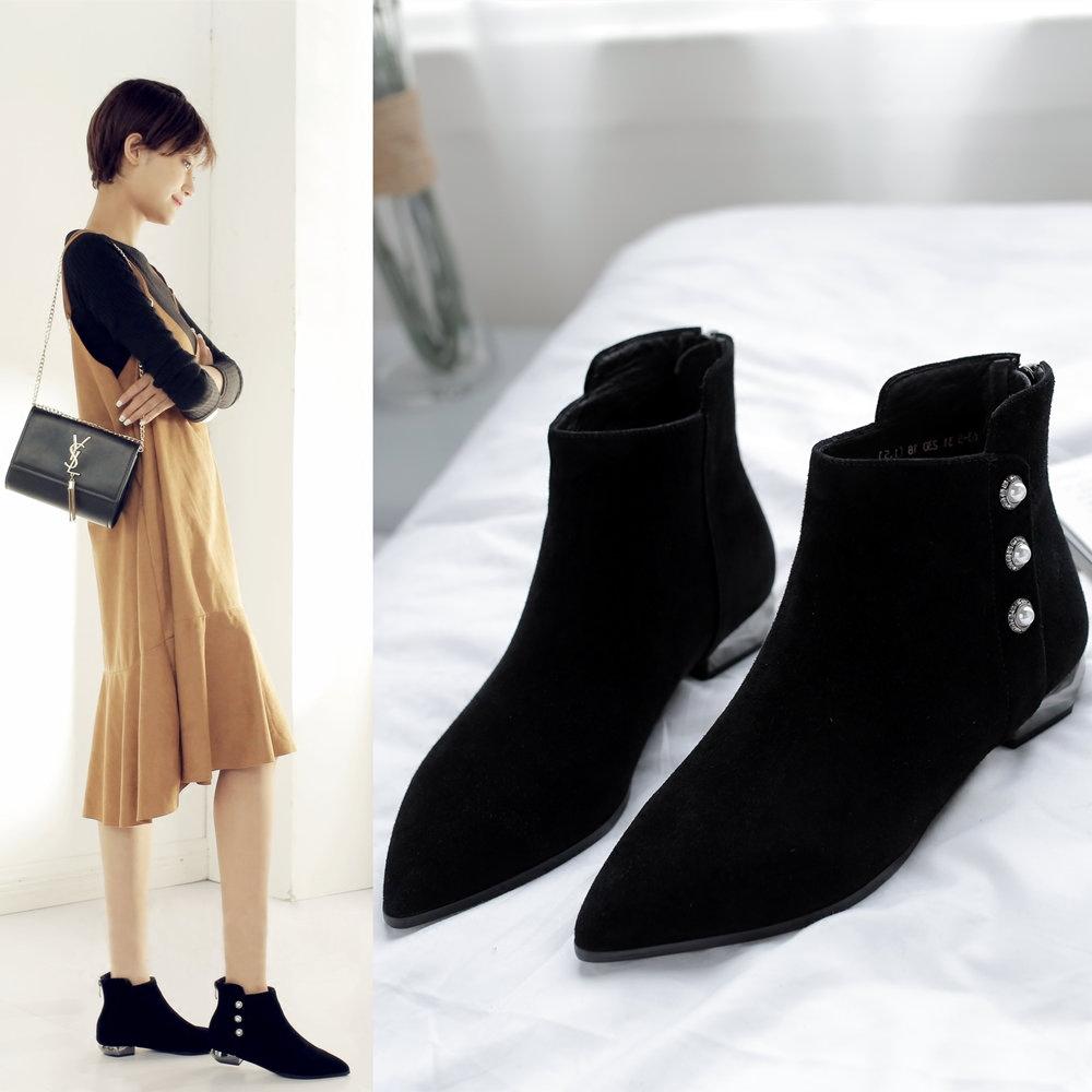 黑色平跟裸靴