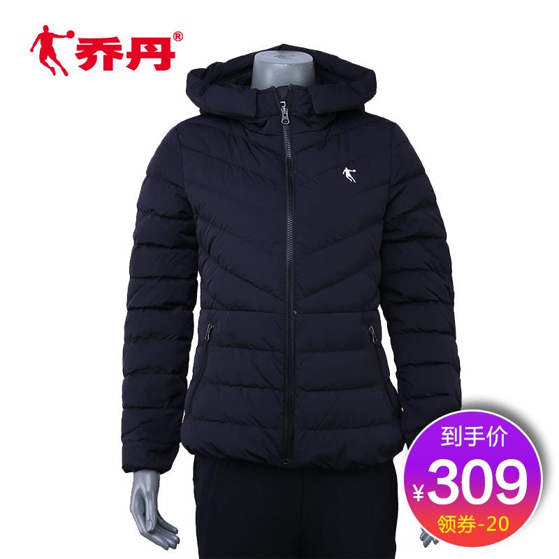 【商场同款】乔丹运动羽绒服女2018冬季保暖连帽外套女EGM4273360