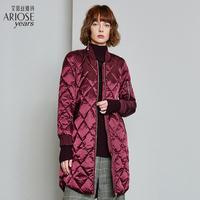 艾诺丝雅诗直筒修身羽绒服女2018秋冬新品棒球型外套保暖71030045