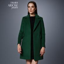 艾诺丝雅诗冬装新款直筒纯色翻领中长款羊毛女呢大衣外套