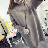 Maternity sweater autumn and winter wear loose high collar Korean version of women's thickening medium long sweater base sweater large size blouse