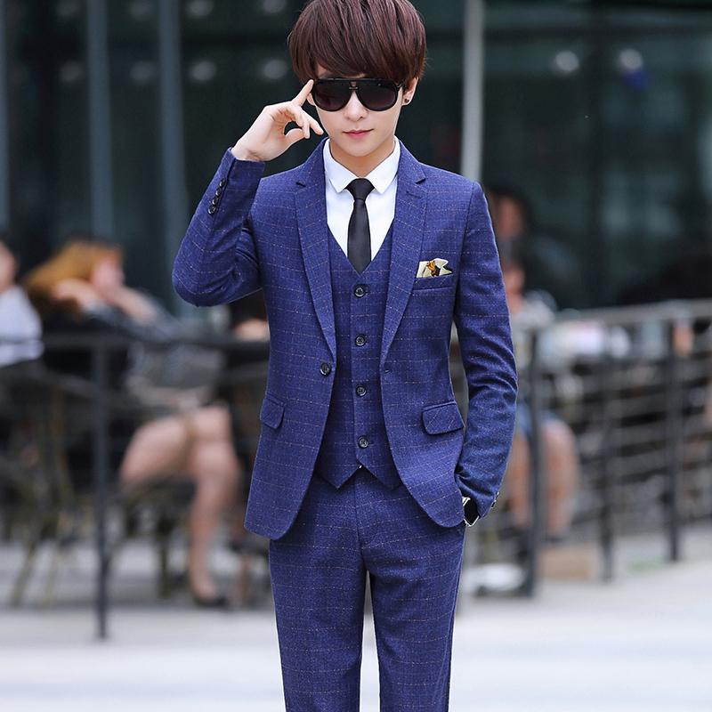 男装_青少年西服套装男修身韩版潮流休闲小西服三件套男装一套帅气西装1元优惠券