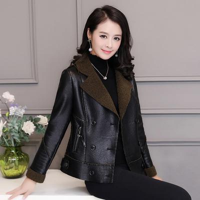 冬装皮衣女短款2017新款韩版修身加绒加厚羊羔毛皮毛一体皮外套潮
