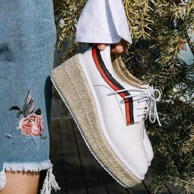 贝拉莉亚单鞋女鞋系带头层牛皮交叉绑带高跟休闲防水台方头坡跟中