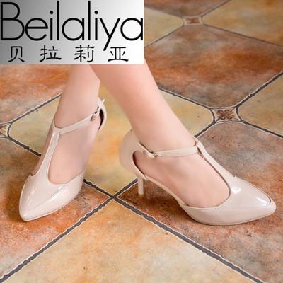 贝拉莉亚小码31 32 33特大码女鞋40-43高跟凉鞋丁字扣裸色44 45 4