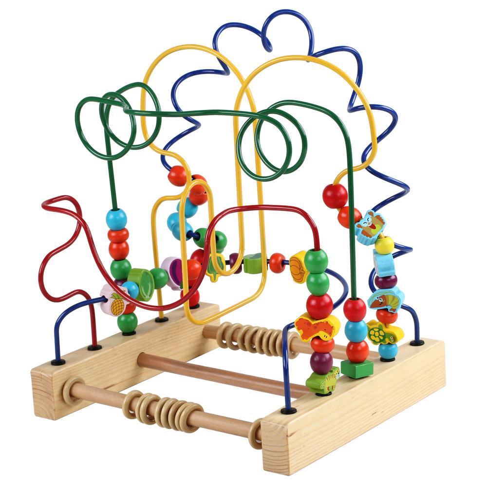 大号绕珠早教木质婴儿宝宝益智力玩具儿童串珠积木男女孩桌面游戏