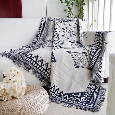 简约现代蓝白格沙发垫单人双人三人组合沙发巾线毯子北欧时尚双十二