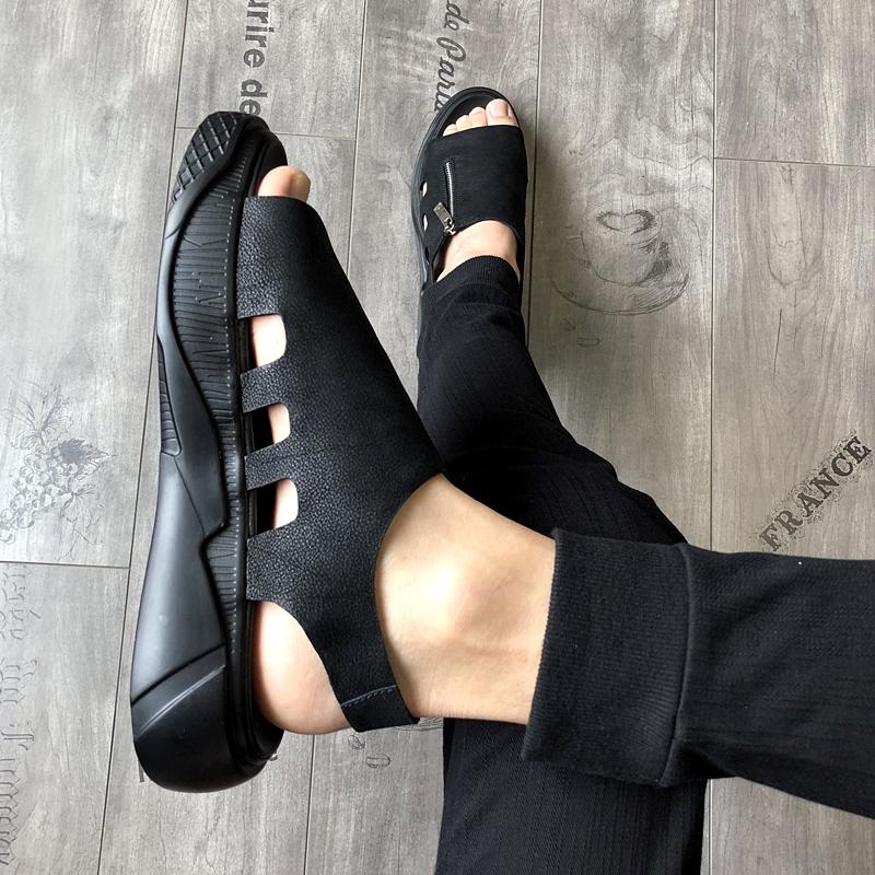 男士凉鞋2019新款夏潮流韩版真皮罗马凉鞋个性厚底沙滩鞋时尚凉鞋