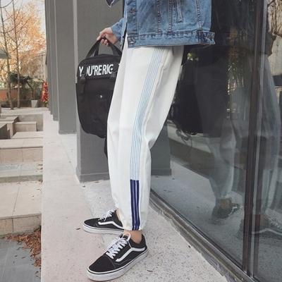哈伦裤女2018春装韩版ulzzang潮条纹宽松运动休闲裤学生BF风长裤