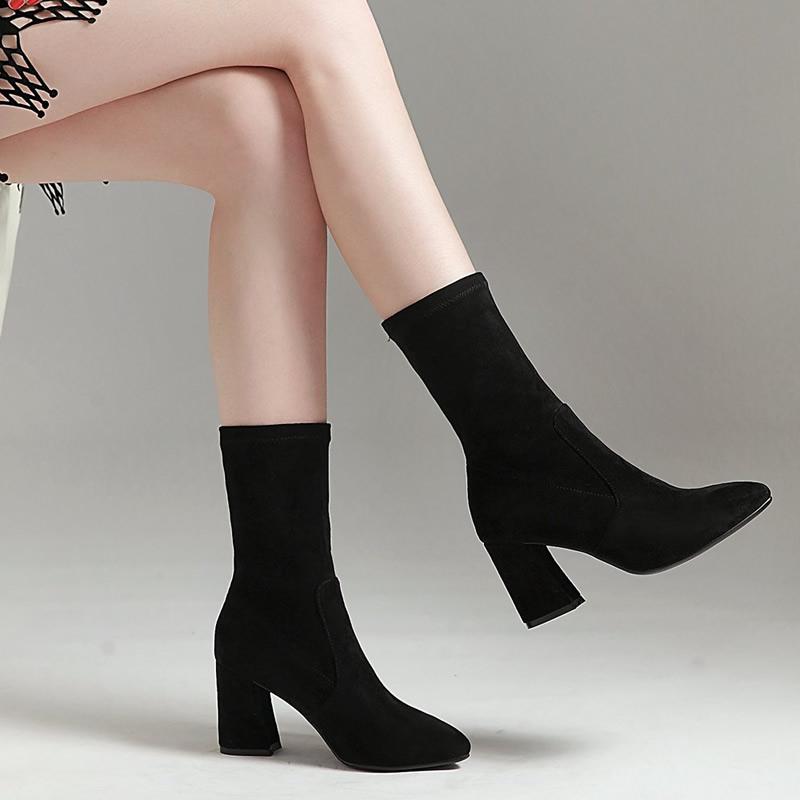 春秋款高跟弹力靴女单靴粗跟套筒粗跟短靴绒面大码女靴子34-43码