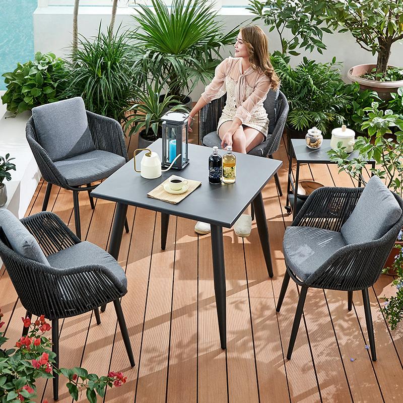 精欧户外室外花园阳台北欧休闲餐桌椅组合露台外摆桌户外桌椅庭院