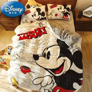 迪士尼儿童床品加厚法莱绒三四件套 卡通法兰绒珊瑚绒床单被套
