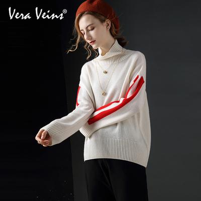 2018秋季新款女装慵懒风山羊绒长袖撞色针织衫宽松羊毛高领毛衣